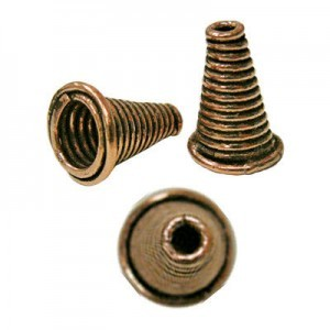 17.5x12.5mm Coiled Cone Cord End Genuine Antiqued Copper 20pcs