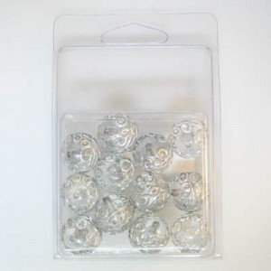 16mm Fancy Round Bead Clamshell Packaged Crystal/Silver (Apx 12 Pcs)