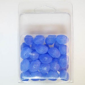 11x16mm Fancy Bead Clamshell Packaged Blue Matte (Apx 28 Pcs)