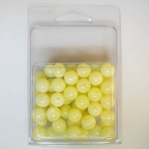 10mm Smooth Round Marble Bead Clamshell Packaged Yellow Marble (Apx 53 Pcs)