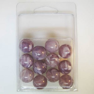 16mm Smooth Round Marble Bead Clamshell Packaged Lilac Marble (Apx 12 Pcs)