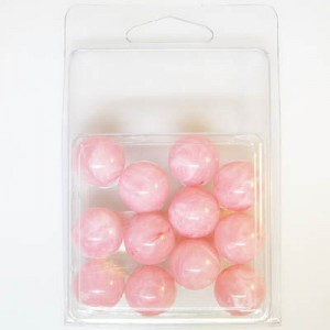 16mm Smooth Round Marble Bead Clamshell Packaged Pink Marble (Apx 12 Pcs)