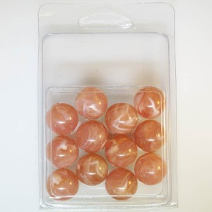 16mm Smooth Round Marble Bead Clamshell Packaged Rust Marble (Apx 12 Pcs)