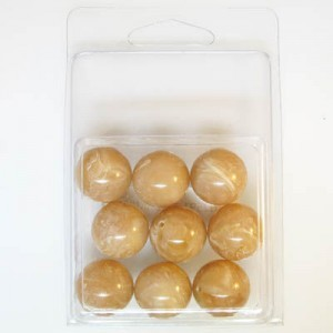 18mm Smooth Round Marble Bead Clamshell Packaged Brown Marble (Apx 9 Pcs)