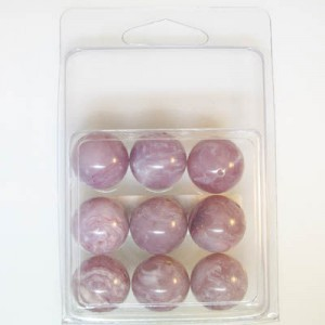 18mm Smooth Round Marble Bead Clamshell Packaged Lilac Marble (Apx 9 Pcs)