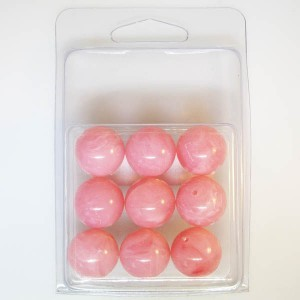 18mm Smooth Round Marble Bead Clamshell Packaged Pink Marble (Apx 9 Pcs)