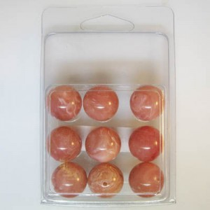 18mm Smooth Round Marble Bead Clamshell Packaged Rust Marble (Apx 9 Pcs)