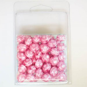 12x11mm Flowered Fancy Tablet Bead Clamshell Packaged Silk Pink (Apx 54 Pcs)
