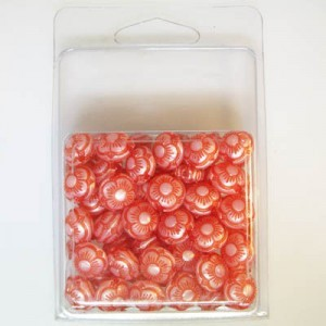 12x11mm Flowered Fancy Tablet Bead Clamshell Packaged Silk Red (Apx 54 Pcs)