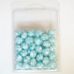 12x11mm Flowered Fancy Tablet Bead Clamshell Packaged Silk Turquoise (Apx 54 Pcs)