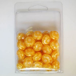 14x15mm Flowered Fancy Tablet Bead Clamshell Packaged Silk Orange (Apx 34 Pcs)