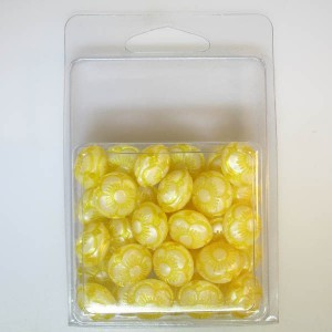 14x15mm Flowered Fancy Tablet Bead Clamshell Packaged Silk Yellow (Apx 34 Pcs)