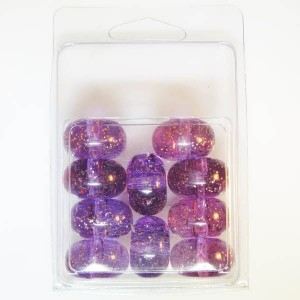 13.5x22mm Belly Rondelle with Gold Fleck Clamshell Packaged Transparent Lilac (Apx 10 Pcs)