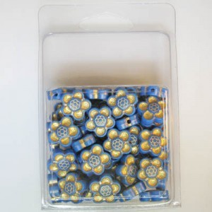 14mm Flower Bead Clamshell Packaged Blue/Gold (Apx 45 Pcs)