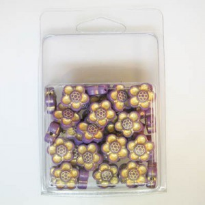 14mm Flower Bead Clamshell Packaged Lilac/Gold (Apx 45 Pcs)