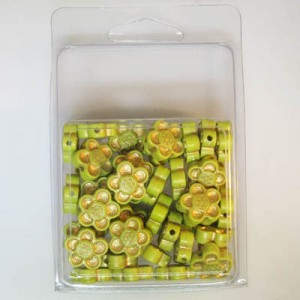 14mm Flower Bead Clamshell Packaged Light Green Gold (Apx 45 Pcs)
