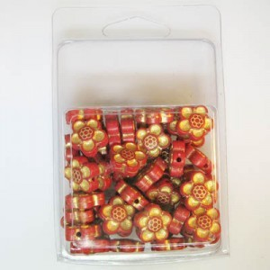 14mm Flower Bead Clamshell Packaged Red/Gold (Apx 45 Pcs)