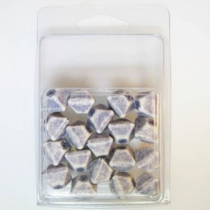 12mm Pyramid Bead Clamshell Packaged Ivory/Blue (Apx 16 Pcs)