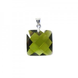 18mm Olivine Cubic Zirconia Faceted Square Pendant W/ Silver Plated Bail 2pcs