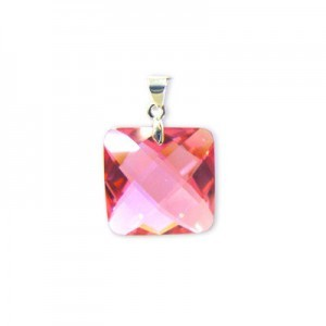 18mm Pink Cubic Zirconia Faceted Square Pendant W/ Silver Plated Bail 2pcs