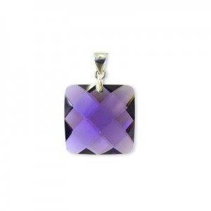 18mm Purple Cubic Zirconia Faceted Square Pendant W/ Silver Plated Bail 2pcs