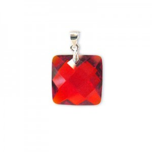 18mm Red Cubic Zirconia Faceted Square Pendant W/ Silver Plated Bail 2pcs