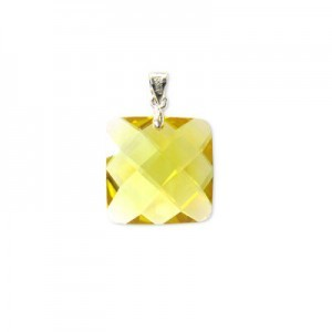 18mm Topaz Cubic Zirconia Faceted Square Pendant W/ Silver Plated Bail 2pcs