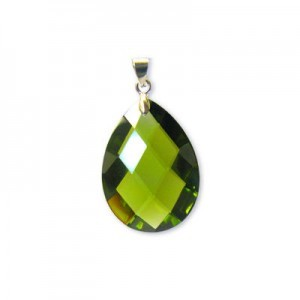 18x25mm Olivine Cubic Zirconia Faceted Almond Pendant W/ Silver Plated Bail 2pcs