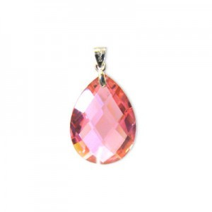 18x25mm Pink Cubic Zirconia Faceted Almond Pendant W/ Silver Plated Bail 2pcs