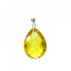 18x25mm Topaz Cubic Zirconia Faceted Almond Pendant W/ Silver Plated Bail 2pcs