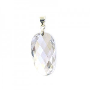 25x14mm Crystal Cubic Zirconia Faceted Wavy Oval Pendant W/ Silver Plated Bail 2pcs