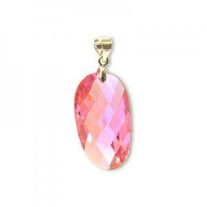 25x14mm Pink Cubic Zirconia Faceted Wavy Oval Pendant W/ Silver Plated Bail 2pcs