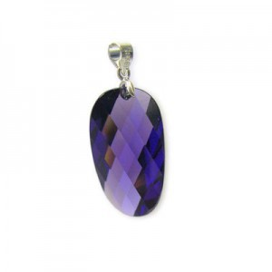 25x14mm Purple Cubic Zirconia Faceted Wavy Oval Pendant W/ Silver Plated Bail 2pcs