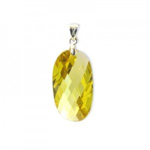 25x14mm Topaz Cubic Zirconia Faceted Wavy Oval Pendant W/ Silver Plated Bail 2pcs