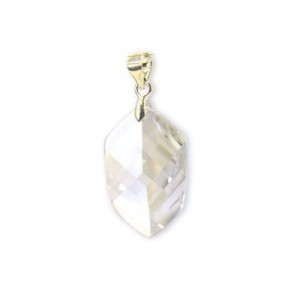 22x14mm Crystal Cubic Zirconia Faceted Pointy Hexagon Pendant W/ Silver Plated Bail 2pcs