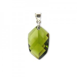 22x14mm Olivine Cubic Zirconia Faceted Pointy Hexagon Pendant W/ Silver Plated Bail 2pcs