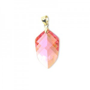 22x14mm Pink Cubic Zirconia Faceted Pointy Hexagon Pendant W/ Silver Plated Bail 2pcs