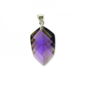 22x14mm Purple Cubic Zirconia Faceted Pointy Hexagon Pendant W/ Silver Plated Bail 2pcs