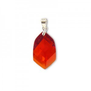 22x14mm Red Cubic Zirconia Faceted Pointy Hexagon Pendant W/ Silver Plated Bail 2pcs