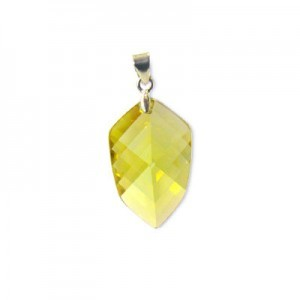 22x14mm Topaz Cubic Zirconia Faceted Pointy Hexagon Pendant W/ Silver Plated Bail 2pcs