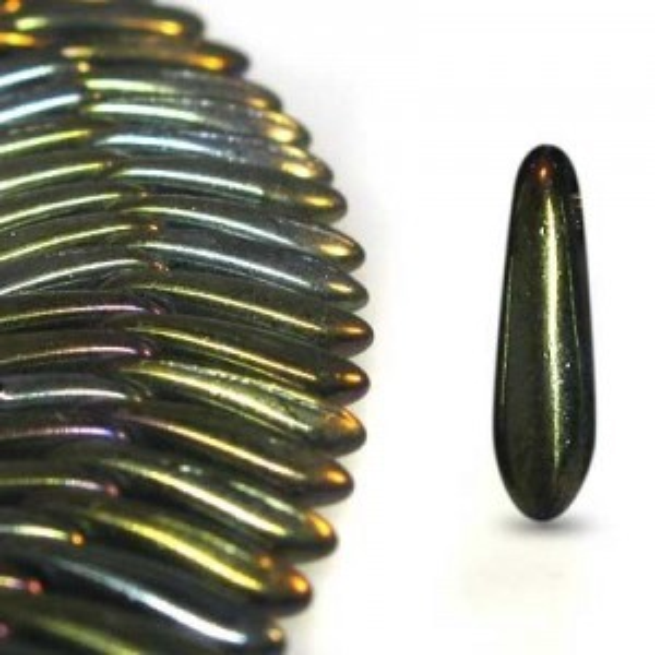 3x11mm Brown Iris Side Drill Daggers Czech Glass - Apx 7 Inch Strand (85 Beads)