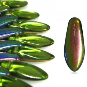 5x12mm Olivine Vitrail Side Drill Daggers Czech Glass - Apx 7 Inch Strand (54 Beads)