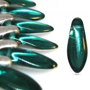 5x12mm Teal Half Silver Side Drill Daggers Czech Glass - Apx 7 Inch Strand (54 Beads)