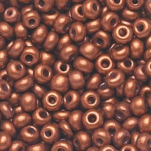 6/0 Copper Matte Czech Seed Beads - Apx 24g Vial (Apx 336 Pcs)