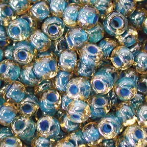 6/0 Topaz Teal-Lined Czech Seed Beads - Apx 24g Vial (Apx 336 Pcs)