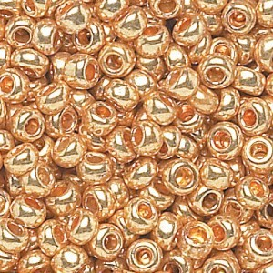 8/0 Shiny Gold Czech Seed Beads - Hank: 12 Strings of 20 Inch (Apx 74g)