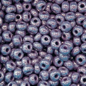 11/0 Purple Opaque Luster Czech Seed Beads - Hank: 12 Strings of 20 Inch (Apx 36g)