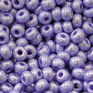 8/0 French Blue Opaque Luster Czech Seed Beads - Hank: 12 Strings of 20 Inch (Apx 74g)