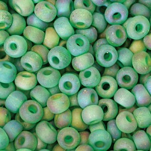 10/0 Emerald Matte AB Czech Seed Beads - Hank: 12 Strings of 20 Inch (Apx 42g)