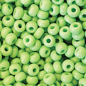 11/0 Lime Green Opaque Czech Seed Beads - Hank: 12 Strings of 20 Inch (Apx 36g)